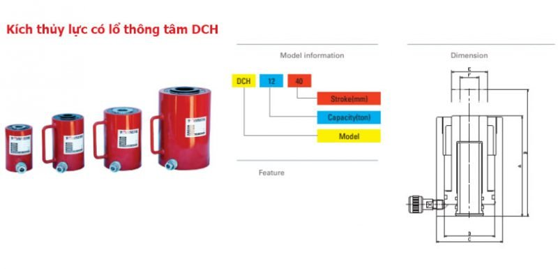 Kích thủy lực có lổ thông tâm, model DCH